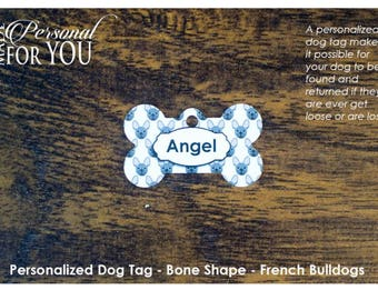 Personalized Dog Tag - Bone Shape - French Bulldogs