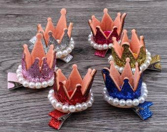 3D Felt Crown Flower For Kids Hair Accessories Glitter Non-woven Fabric Tiaras For Kids Girls Hair Ornaments