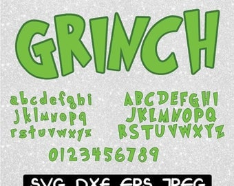 Grinch Font with Shadow SVG dxf eps jpeg format layered cutting files clipart screen print die cut decal vinyl cutter cricut silhouette