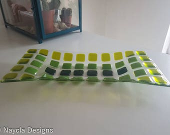Coloured Squares Fused Glass Dish - Handmade - Handcrafted - Blue - Orange - Green