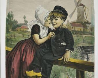 Silk tapestry, Dutch children, France 1900 - 19 x 26.5 cm (7 x 10 inc.)