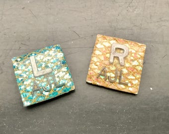 Square Xray Markers Customized w/ Initals Teal/Tan