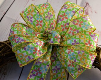 Daisy Bow, Spring Bow, Easter Bow, Wreath Bow, Basket Bow, Decorative Bow, Shower Bow, Gift Bow