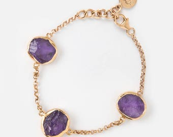 Raw Amethyst bracelet - Rough Amethyst bracelet - Amethyst bracelet - Gemstone bracelet - February Birthstone