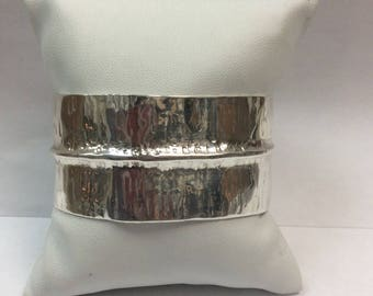 Contemporary Bark Finish Sterling Silver One of A Kind Cuff Bracelet