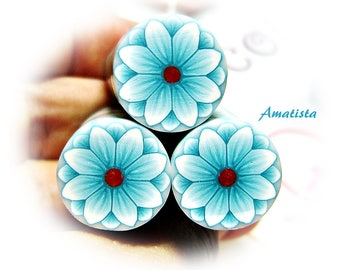 Polymer clay flower cane: Raw polymer clay cane - Millefiori cane supplies - White and turquoise flower cane - Supplies for jewelers
