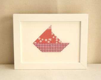 Red and white - boat origami - hanger flowered sail - 'Ptits ambience' Collection