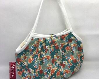 Women Bags Granny Bag Japanese style fabrics Teal Sakura Cherry Blossom - Free Shipping!