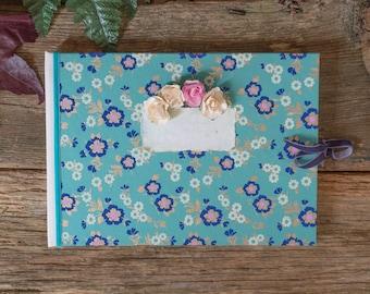 Handmade Art Journal | Vintage Wedding Guest Book | Hardcover Journal | Scrapbook | BohooPhoto Album | A4 | Blue Garden