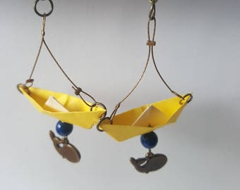 Lemon yellow origami boat earrings