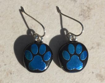 Dichroic Fused Glass Earrings - Aqua Blue Dog Paw Laser Engraved Etched Earrings with Solid Sterling Ear Wires