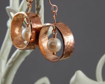 Copper & Freshwater Pearl Earrings