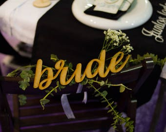 Groom & Bride Wooden Lettering - Wedding decoration, Wedding wood gift, calligraphy wood deco,  Wood Love Word Sign,