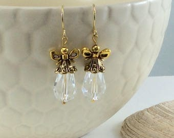 Downton Abbey Clear Czech Crystal Drop/Dangle Earrings with 18kt gold plate wires
