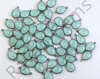 AAA Quality Aqua Chalcedony Oxidized Silver Faceted 12x16mm Pear connector - Double Bail Connector - All Plating Available - 1 piece