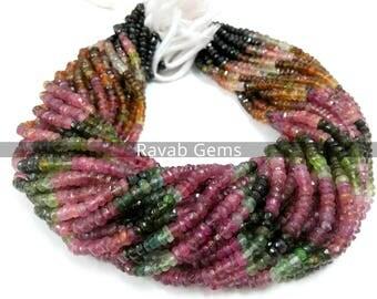 1 Strand Multi Tourmaline Faceted Beads AAA Quality Natural Tourmaline Faceted Rondelle Beads 3mm to 4mm Tourmaline beads