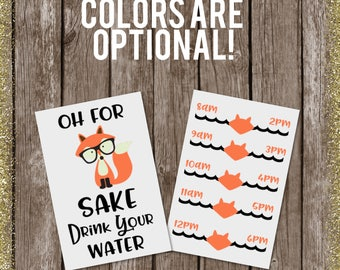 Fox water bottle, for fox sake, water bottle decals, water tracker decal, for fox sake water bottle, fox decal, fox sticker