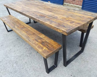 Industrial chic Trapezium dining table .,