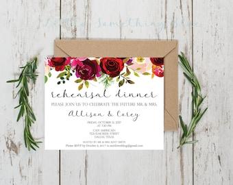 Floral Rehearsal Dinner Invitation // Welcome Dinner Invitation // 5.5x4 // Digital Download // Printable
