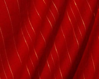 Gold Threaded Red Fabric - 58 Inches Wide