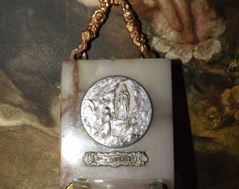 Antique French Benitier - Lourdes Holy Water Font - Marble and Brass Ribbon Bow Benitier - Virgin Mary Holy Water Font