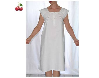 Dress Victorian dress Nightgown white cotton scalloped Monogram hand emroidered thick cotton hand embroidered french cotton nightgown