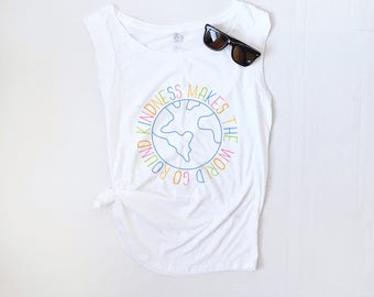 Kindness Makes the World Go Round - Cap Sleeve Tank Top - Soft Tee
