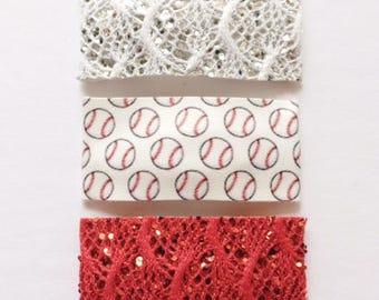 Silver glitter/white lace BASEBALLS Red glitter/red lace snap clip OR alligator clip