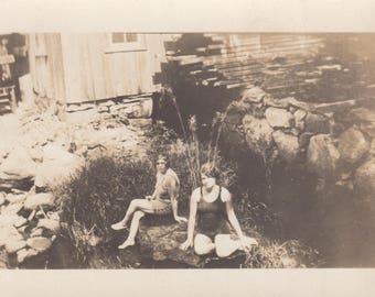 Vintage Found Photo Water Nymph Mermaids Bathing in River Magical Antique Black & White Photograph Paper Art Ephemera Vernacular Old Design