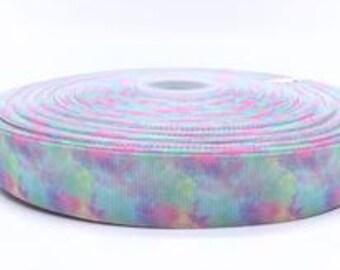 "Pastel Rainbow Clouds 1"" 25mm Grosgrain Ribbon per  Meter"