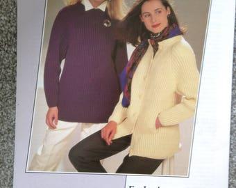 Vintage Knitting pattern For Ladies Long Line Sweater/Jumper & Jacket.    Allander - House Of Fraser