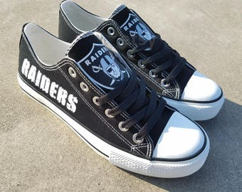 Oakland Raiders shoes Raiders sneakers Raiders tennis shoes Holiday gifts Damaged font Custom shoes