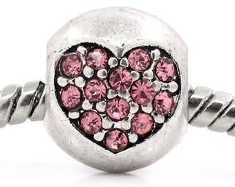 Pink Rhinestone Heart spacer bead pandora (P02) style.