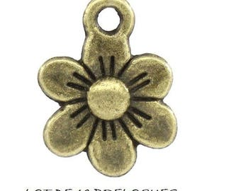 Set of 10 charms (R05) Bronze fancy flower