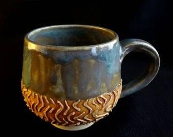 Blue and yellow mug