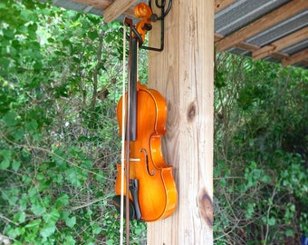 Hand forged treble clef violin holder / wall hanger