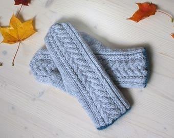Gray Blue Mittens, Chunky Mittens, Wool Gray Mittens, Wool Mittens, Chunky Gloves, Soft Mittens, Chunky Knit, Chunky Wool, Warm Mittens