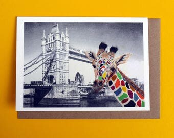 City Giraffe Greeting Card
