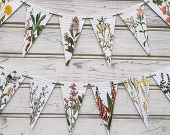 Flowers bunting, Countryside garland, Wedding decor, Botanical party flags, Botanic flower bunting, Flower baby shower, Flower baby bunting