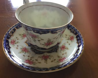 England China Tea Cup and Saucer Blue Flowered Sutherland