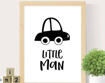 Little man print, Nursery wall art, Monochrome print, Black and white print, Boys nursery, Custom wall print, Digital print, Nursery decor