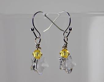 Swarovski Crystal Stars,Swarovski Crystals, yellow, very petite, light dangle,silver wire