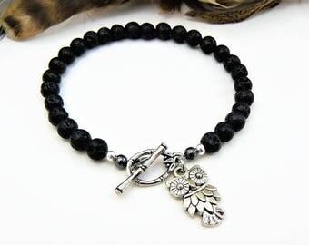 Owl Bracelet, Silver Owl Charm, Charm Bracelet, Lava Stone Oil Diffuser Bracelet, Beaded Bracelet, Black Bracelet, Silver Charm, Owl Charm