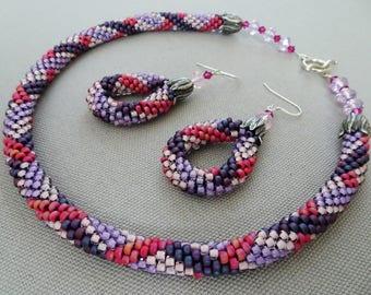 Mixed Berries- Bead Crochet Necklace & Earrings