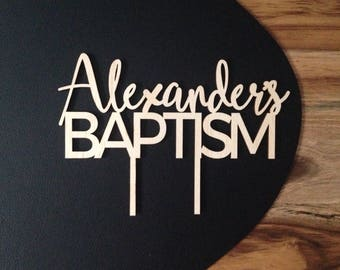 Baptism Cake Topper, wooden name cake topper for a baptism cake