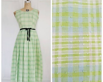 Vintage 50s gingham cotton day dress with all over picot, green, white, blue, 1950s dress, size XS