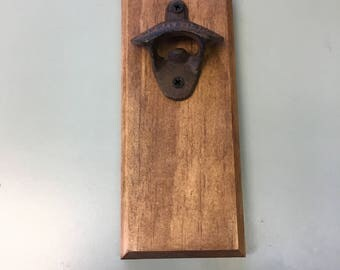 Wall Mounted Bottle Opener, Rustic Bottle Opener, Groomsmen Gift, Gift for him, Barware, Mancave, Man Cave