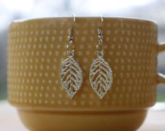 Silver tone leaf earrings, nickel free earrings,