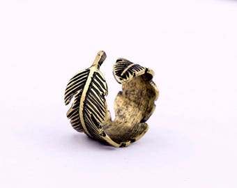 Ladies Brass Feather Ring