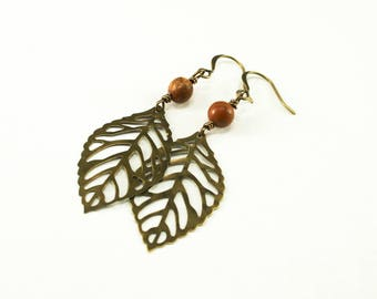 Red Creek Jasper and Leaf Drop Earrings - Antique Brass, Gemstone Earrings, Leaf Earrings, Boho Earrings, Bohemian Earrings, Long Earrings